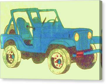Blue Jeep Canvas Print by Christy Saunders Church