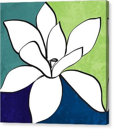 Blue Magnolia 1- Floral Art Canvas Print by Linda Woods