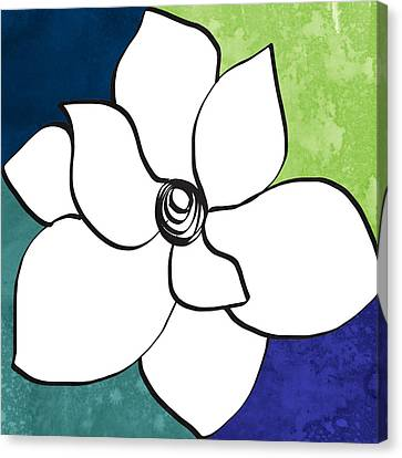 Blue Magnolia 2- Floral Art Canvas Print by Linda Woods
