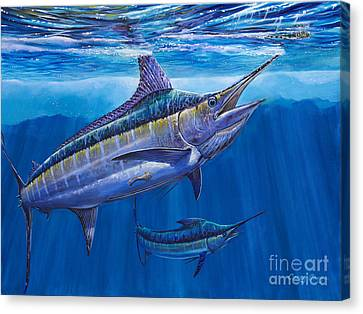 Blue Marlin Bite Off001 Canvas Print by Carey Chen