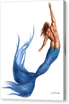 Blue Merman Canvas Print by Bruce Lennon