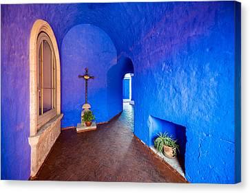 Blue Monastery Interior Canvas Print by Jess Kraft