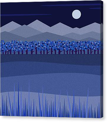 Blue Moon - Blue Trees Canvas Print by Val Arie