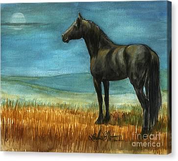 Blue Moon Canvas Print by Linda L Martin