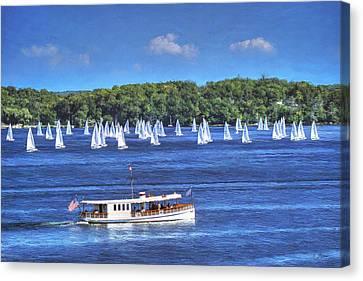 Blue Morning Cruise - Lake Geneva Wisconsin Canvas Print by Ben Thompson