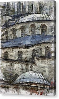 Blue Mosque Sketch Canvas Print by Antony McAulay