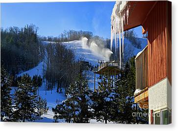 Blue Mountain Ski Resort Canvas Print by Charline Xia