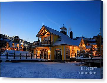 Blue Mountain Village Night Canvas Print by Charline Xia