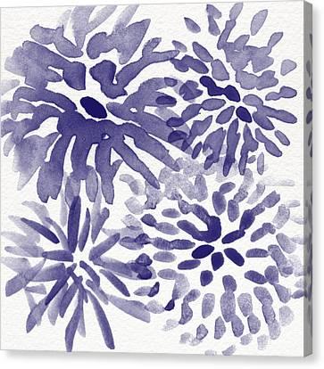 Blue Mums- Watercolor Floral Art Canvas Print by Linda Woods