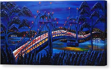 Blue Night Of St. Johns Bridge #14 Canvas Print by Portland Art Creations