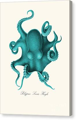 Blue Octopus Canvas Print by Patruschka Hetterschij