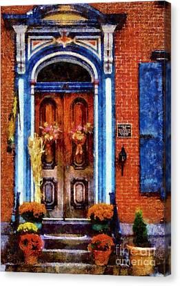 Blue On Brick - Jim Thorpe Autumn Door Canvas Print by Janine Riley