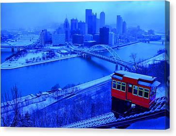 Blue Pittsburgh Canvas Print by Matt Matthews