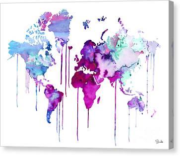 Blue Purple Watercolor Map Canvas Print by Lyubomir Kanelov