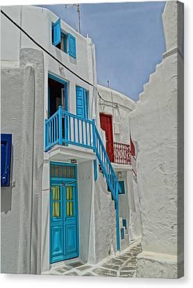 Blue Railing With Stairway In Mykonos Greece Canvas Print by M Bleichner