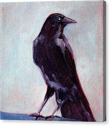 Blue Raven Canvas Print by Nancy Merkle