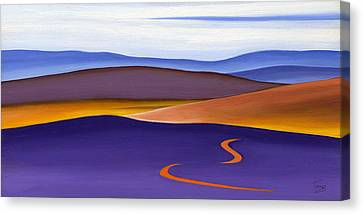 Blue Ridge Orange Mountains Sky And Road In Fall Canvas Print by Catherine Twomey