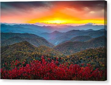 Blue Ridge Parkway Autumn Sunset Nc - Rapture Canvas Print by Dave Allen