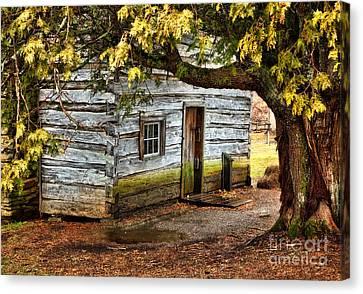 Blue Ridge Parkway - Mabry Mill Building In The Rain Canvas Print by Dan Carmichael