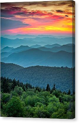 Blue Ridge Parkway Sunset - The Great Blue Yonder Canvas Print by Dave Allen