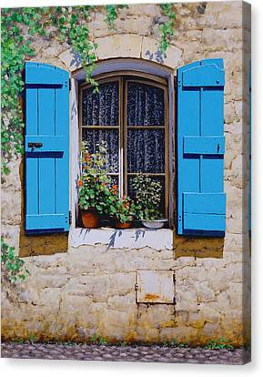 Blue Shutters Canvas Print by Michael Swanson