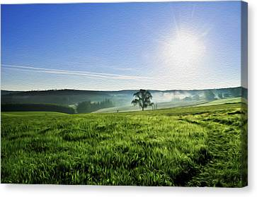 Blue Sky And Fields Canvas Print by Aged Pixel