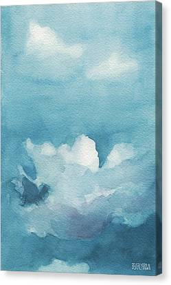 Blue Sky White Clouds Watercolor Painting Canvas Print by Beverly Brown Prints