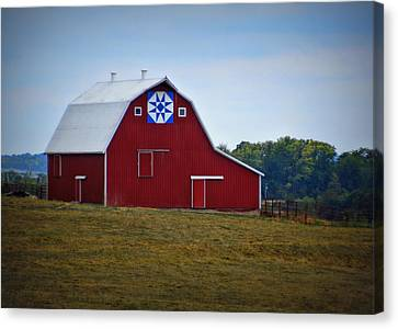 Blue Star Quilt Barn Canvas Print by Cricket Hackmann
