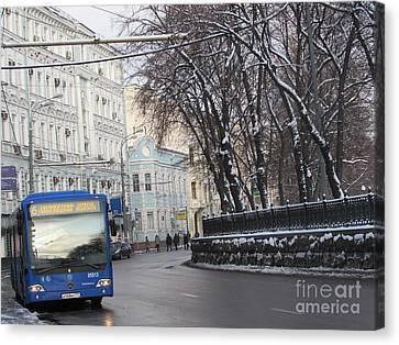 Blue Trolleybus Canvas Print by Anna Yurasovsky