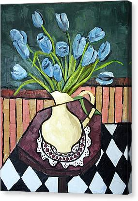 Blue Tulips On Octagon Table Canvas Print by Anthony Falbo
