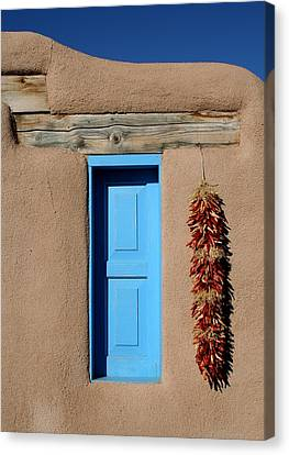 Blue Window Of Taos Canvas Print by Heidi Hermes