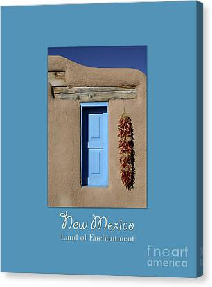 Blue Window Of Taos With Text Canvas Print by Heidi Hermes