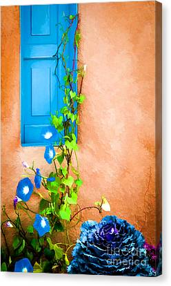 Blue Window - Painted Canvas Print by Bob and Nancy Kendrick