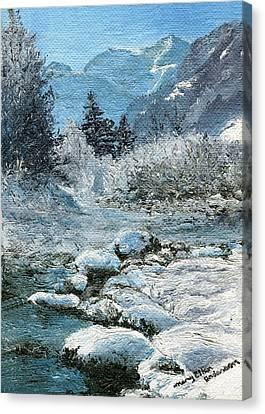 Blue Winter Canvas Print by Mary Ellen Anderson