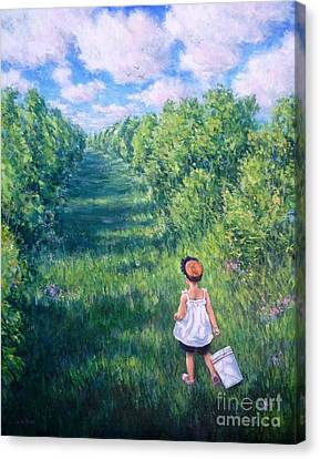Blueberry Picking Canvas Print by Vickie Fears