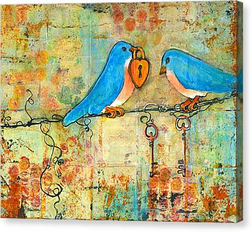 Bluebird Painting - Art Key To My Heart Canvas Print by Blenda Studio
