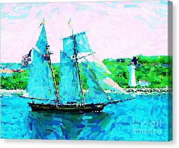 Bluenose Schooner In Halifax Canvas Print by John Malone