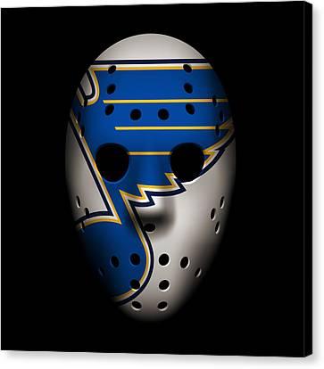 Blues Goalie Mask Canvas Print by Joe Hamilton