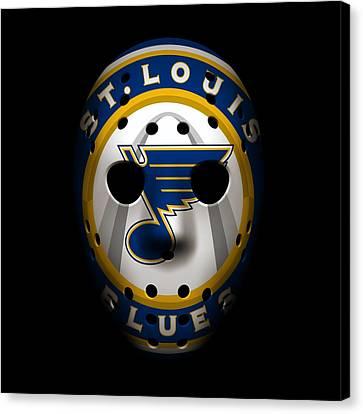 Blues Goalie Mask2 Canvas Print by Joe Hamilton