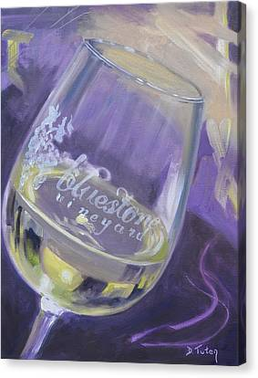 Bluestone Vineyard Wineglass Canvas Print by Donna Tuten