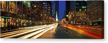Blurred Motion, Cars, Michigan Avenue Canvas Print by Panoramic Images