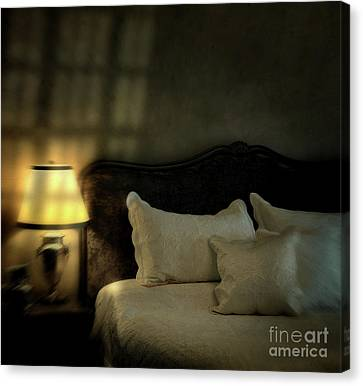 Blurry Image Of A Vintage Looking Bedroom Canvas Print by Sandra Cunningham