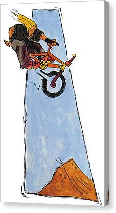 Bmx Drawing Canvas Print by Mike Jory