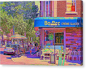 Bo Bec Creme Glacee Ice Cream Shop Laurier Montreal Springtime Cafe Scene By Carole Spandau Canvas Print by Carole Spandau