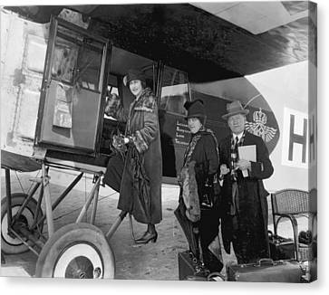 Boarding Fokker Airplane Canvas Print by Underwood Archives
