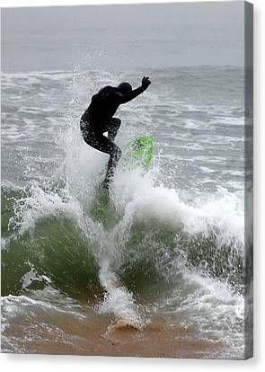 Boardskimming - Into The Surf Canvas Print by Kim Bemis