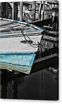 Boat Bow In Black White And Blue Canvas Print by Lynn Jordan