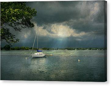Boat - Canandaigua Ny - Tranquility Before The Storm Canvas Print by Mike Savad