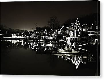 Boat House Row - In The Dark Of Night Canvas Print by Bill Cannon