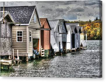 Boat Houses Canvas Print by Michael Allen